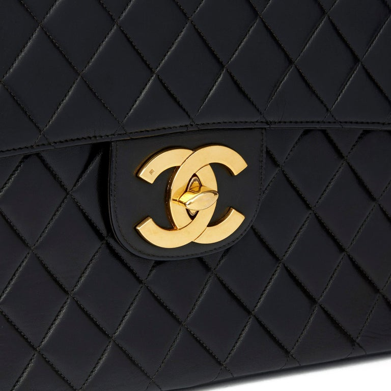 1996 Chanel Black Quilted Lambskin Vintage Jumbo XL Flap Bag For Sale 2