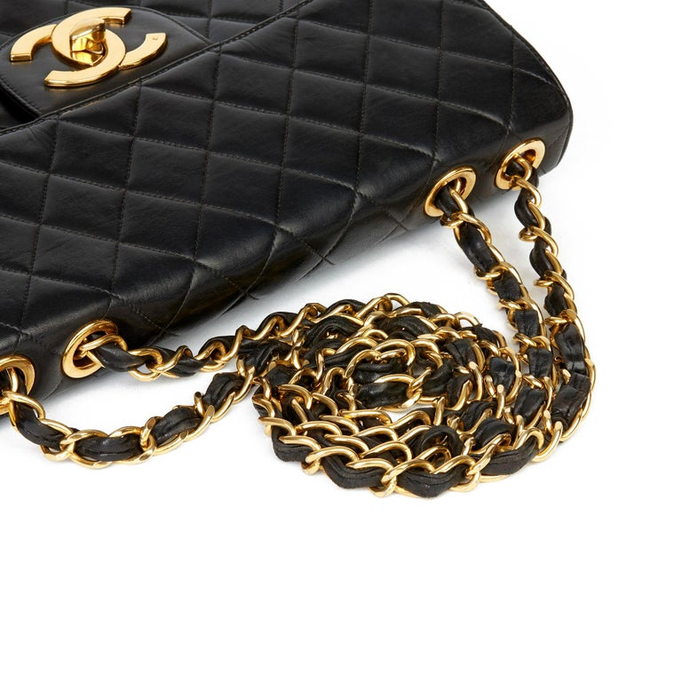 1996 Chanel Black Quilted Lambskin Vintage Jumbo XL Flap Bag For Sale 3