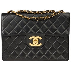 1996 Chanel Black Quilted Lambskin Vintage Jumbo XL Flap Bag