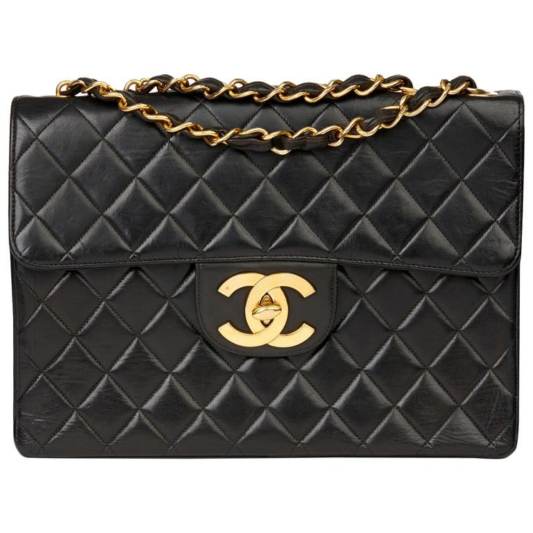 1996 Chanel Black Quilted Lambskin Vintage Jumbo XL Flap Bag For Sale