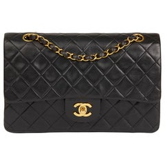 1996 Chanel Black Quilted Lambskin Vintage Medium Classic Double Flap Bag