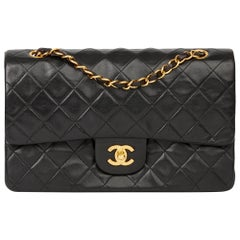 1996 Chanel Black Quilted Lambskin Vintage Medium Classic Double Flap