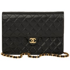 1996 Chanel Black Quilted Lambskin Vintage Medium Classic Single Flap Bag