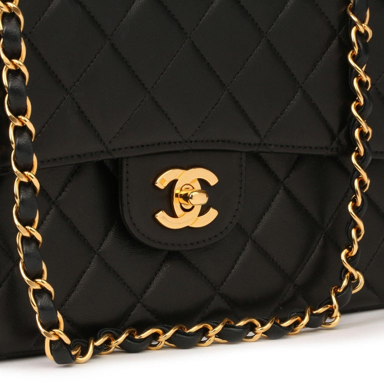 1996 Chanel Black Quilted Lambskin Vintage Medium Double Sided Classic Flap Bag 2