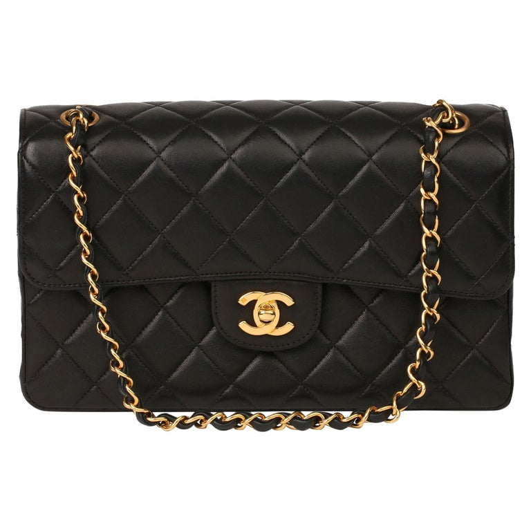 1996 Chanel Black Quilted Lambskin Vintage Medium Double Sided Classic Flap Bag