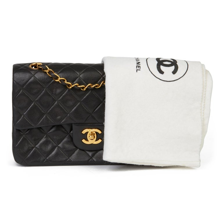 1996 Chanel Black Quilted Lambskin Vintage Small Classic Double Flap Bag  8