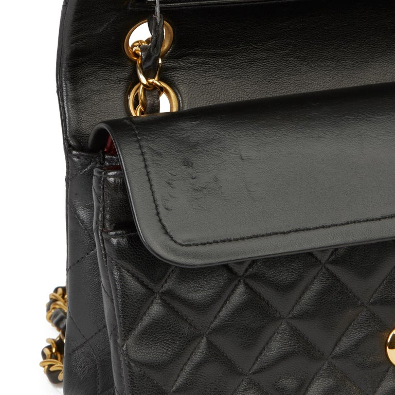 1996 Chanel Black Quilted Lambskin Vintage Small Classic Double Flap Bag  9