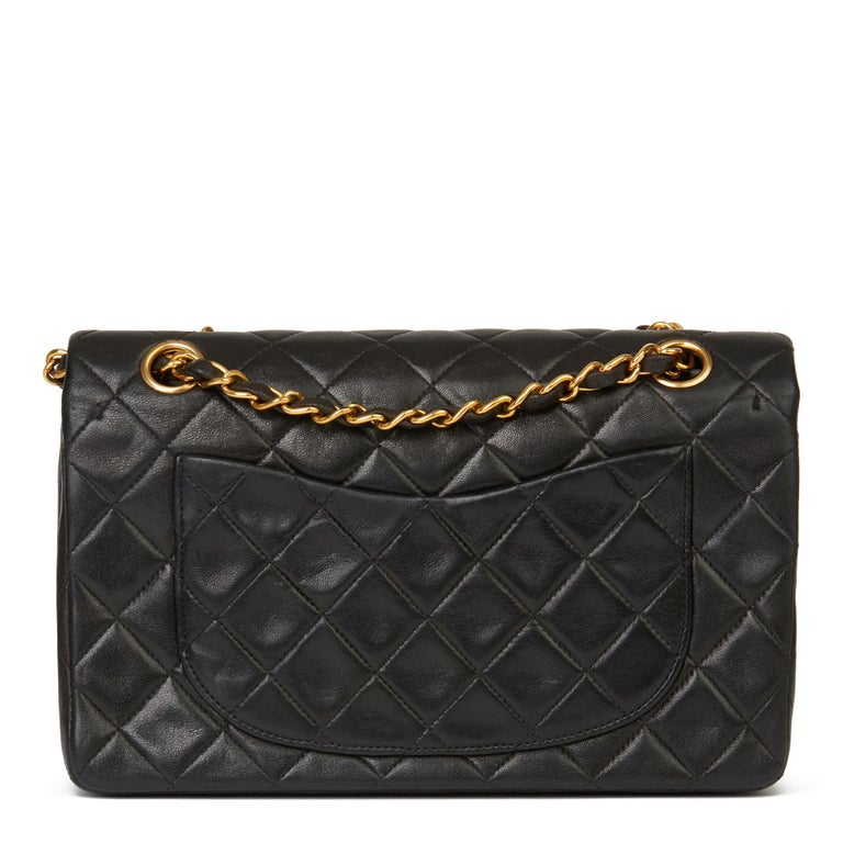 1996 Chanel Black Quilted Lambskin Vintage Small Classic Double Flap Bag  1