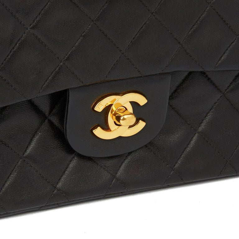 1996 Chanel Black Quilted Lambskin Vintage Small Classic Double Flap Bag  3