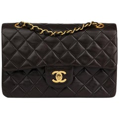 1996 Chanel Black Quilted Lambskin Vintage Small Classic Double Flap Bag