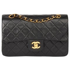 1996 Chanel Black Quilted Lambskin Vintage Small Classic Double Flap