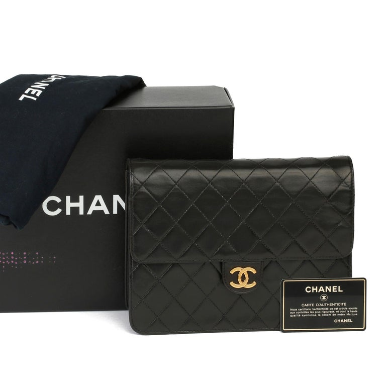1996 Chanel Black Quilted Lambskin Vintage Small Classic Single Flap Bag For Sale 8