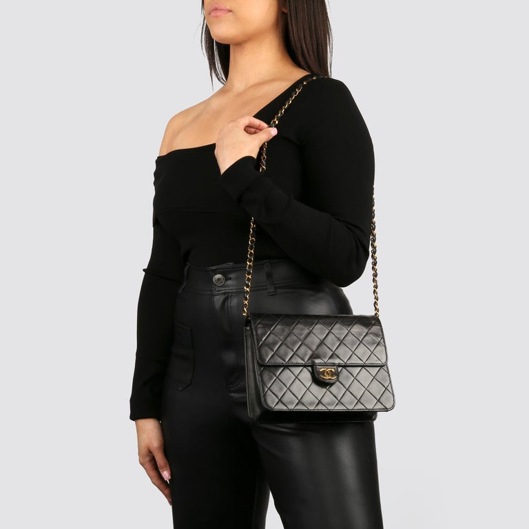 1996 Chanel Black Quilted Lambskin Vintage Small Classic Single Flap Bag For Sale 9