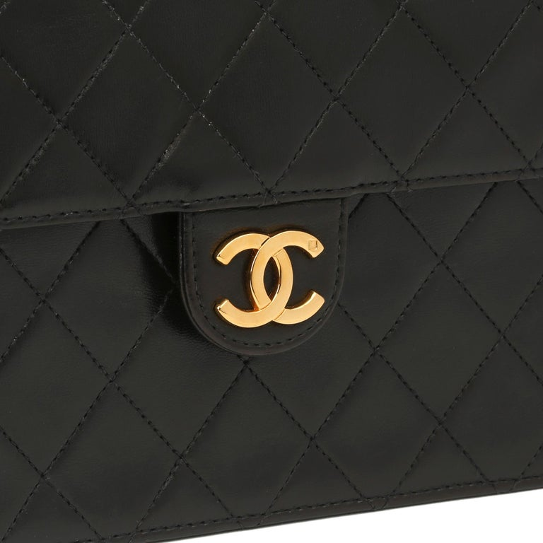 1996 Chanel Black Quilted Lambskin Vintage Small Classic Single Flap Bag For Sale 3
