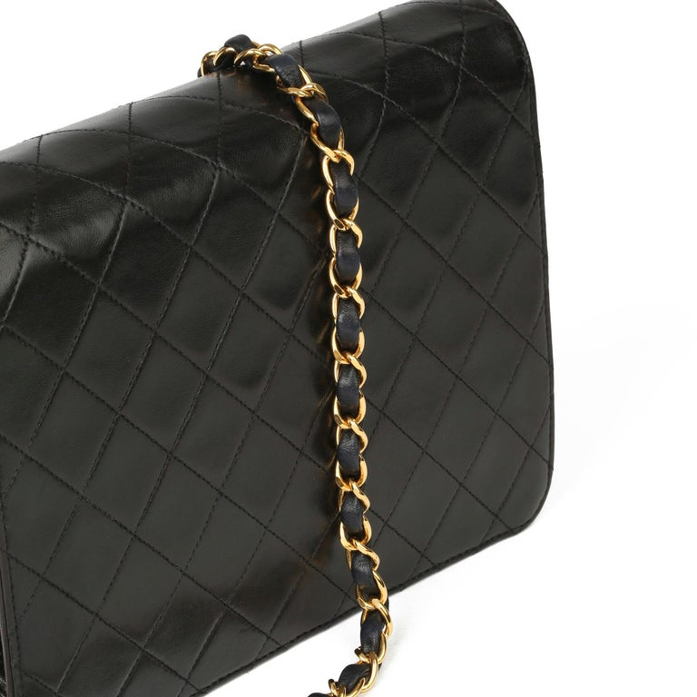 1996 Chanel Black Quilted Lambskin Vintage Small Classic Single Flap Bag For Sale 4