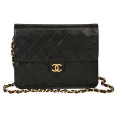 1996 Chanel Black Quilted Lambskin Vintage Small Classic Single Flap Bag