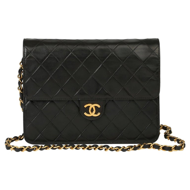 1996 Chanel Black Quilted Lambskin Vintage Small Classic Single Flap Bag For Sale