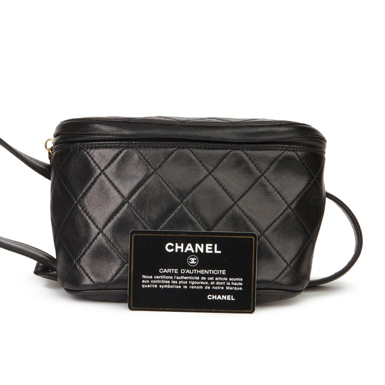 1996 Chanel Black Quilted Lambskin Vintage Timeless Belt Bag For Sale 8