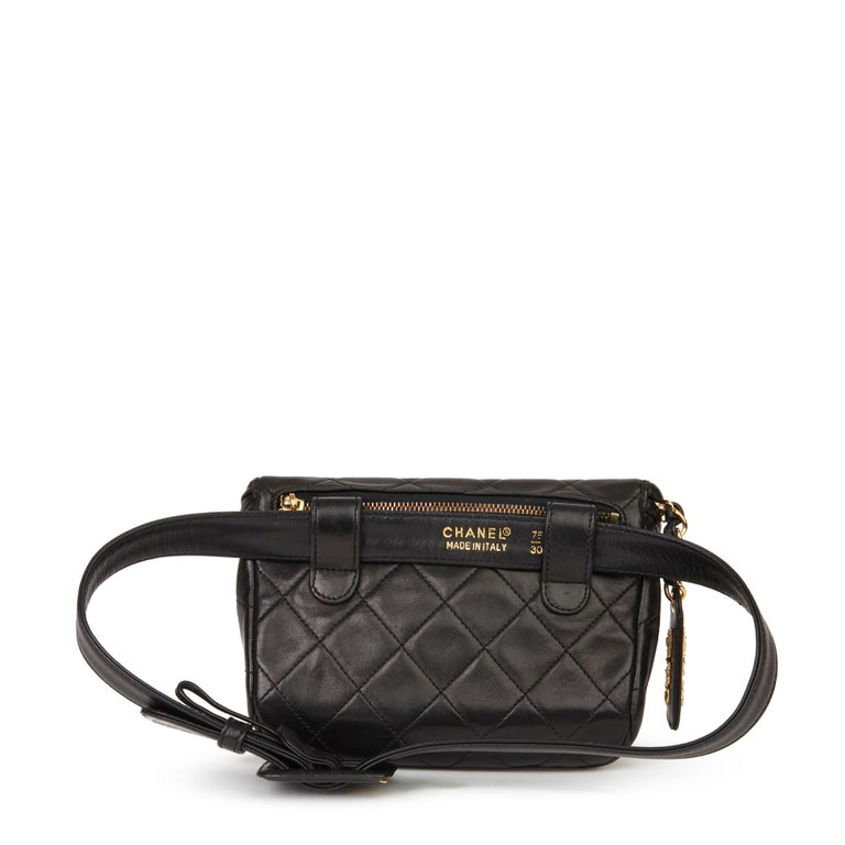 1996 Chanel Black Quilted Lambskin Vintage Timeless Belt Bag For Sale 1