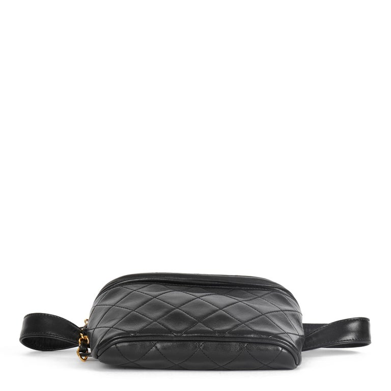 1996 Chanel Black Quilted Lambskin Vintage Timeless Belt Bag For Sale 2