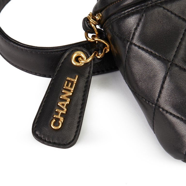 1996 Chanel Black Quilted Lambskin Vintage Timeless Belt Bag For Sale 3