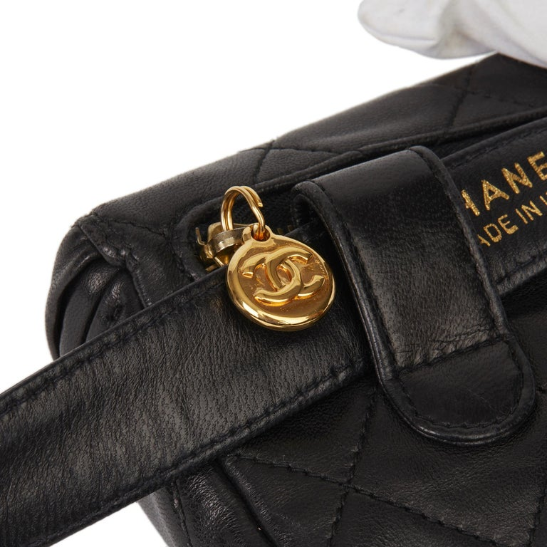 1996 Chanel Black Quilted Lambskin Vintage Timeless Belt Bag For Sale 4