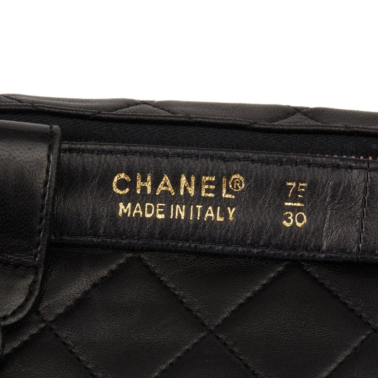 1996 Chanel Black Quilted Lambskin Vintage Timeless Belt Bag For Sale 5