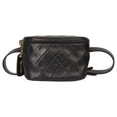 1996 Chanel Black Quilted Lambskin Vintage Timeless Belt Bag