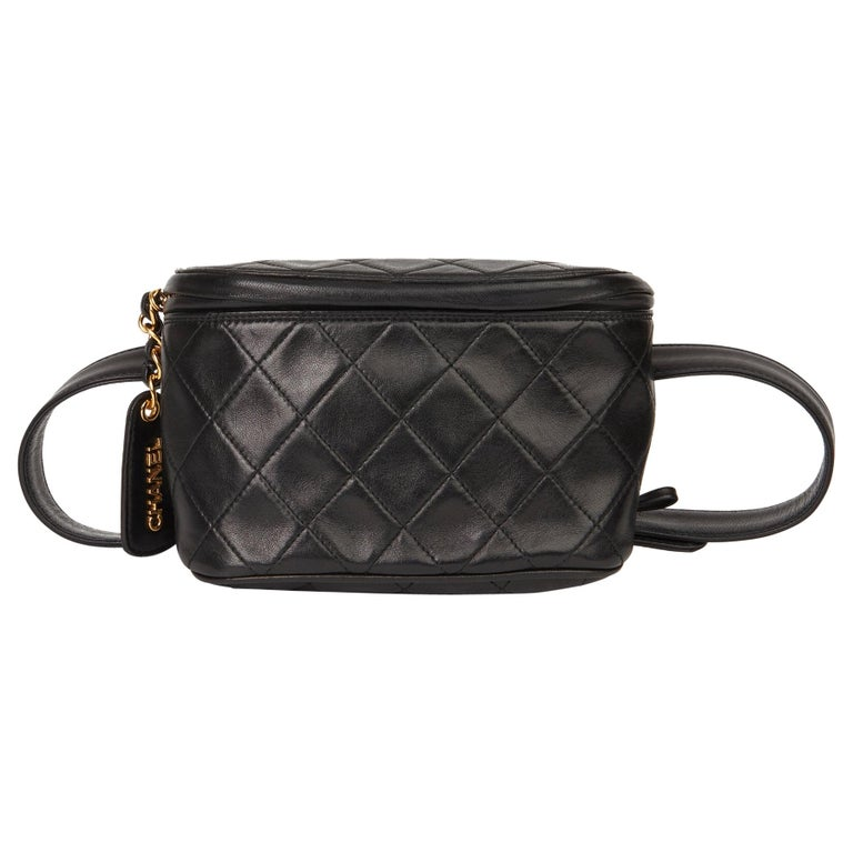 1996 Chanel Black Quilted Lambskin Vintage Timeless Belt Bag For Sale
