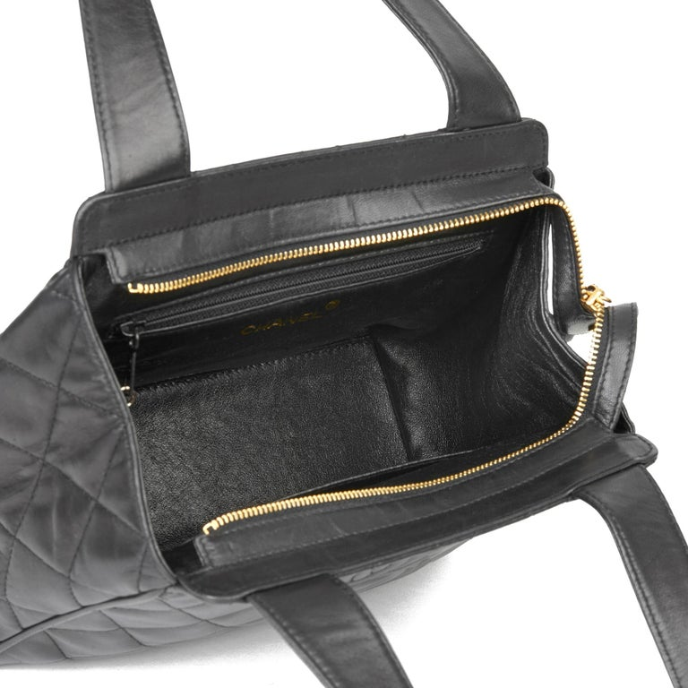 1996 Chanel Black Quilted Lambskin Vintage Timeless Tote For Sale 6