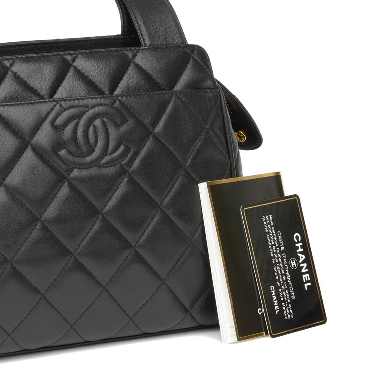 1996 Chanel Black Quilted Lambskin Vintage Timeless Tote For Sale 7