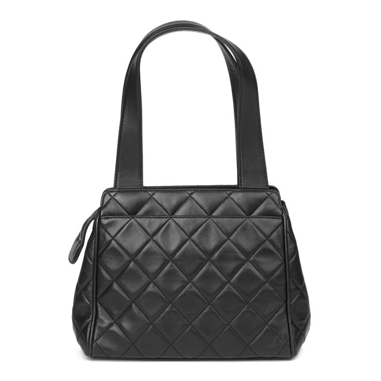 Women's 1996 Chanel Black Quilted Lambskin Vintage Timeless Tote For Sale