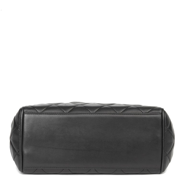 1996 Chanel Black Quilted Lambskin Vintage Timeless Tote For Sale 1