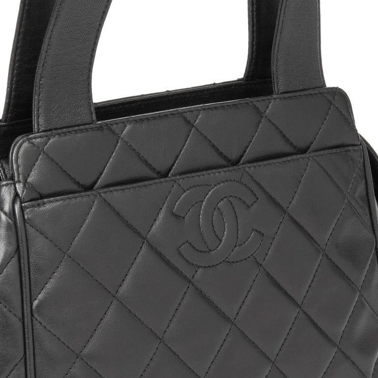 1996 Chanel Black Quilted Lambskin Vintage Timeless Tote For Sale 2
