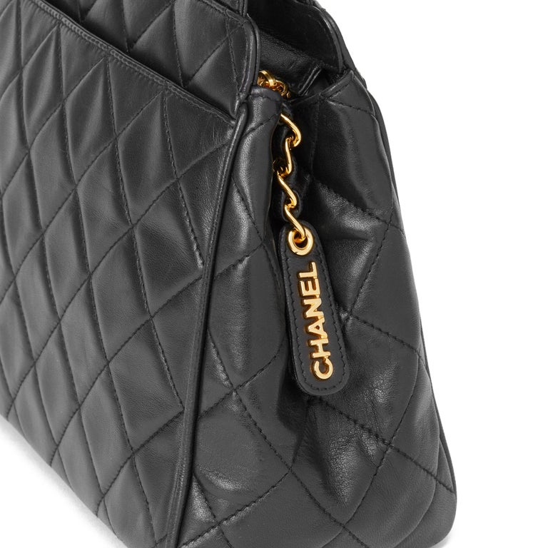 1996 Chanel Black Quilted Lambskin Vintage Timeless Tote For Sale 3