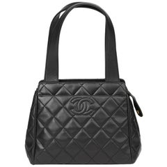 1996 Chanel Black Quilted Lambskin Vintage Timeless Tote