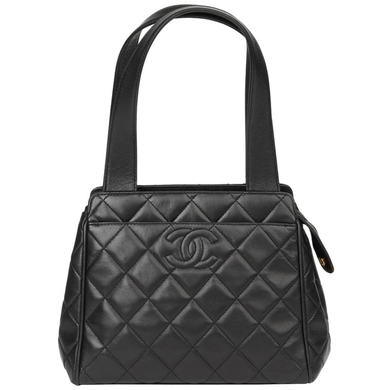 1996 Chanel Black Quilted Lambskin Vintage Timeless Tote For Sale