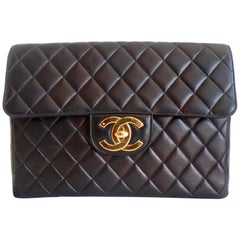 1996 Chanel Black Quilted Leather Classic Single Flap Bag