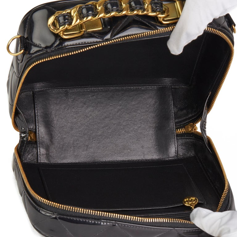 1996 Chanel Black Quilted Patent Leather Vintage Small Timeless Lunch Box Bag  For Sale 7