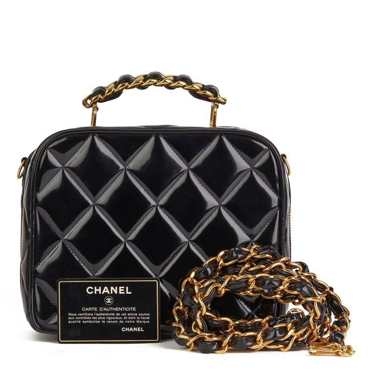 1996 Chanel Black Quilted Patent Leather Vintage Small Timeless Lunch Box Bag  For Sale 8
