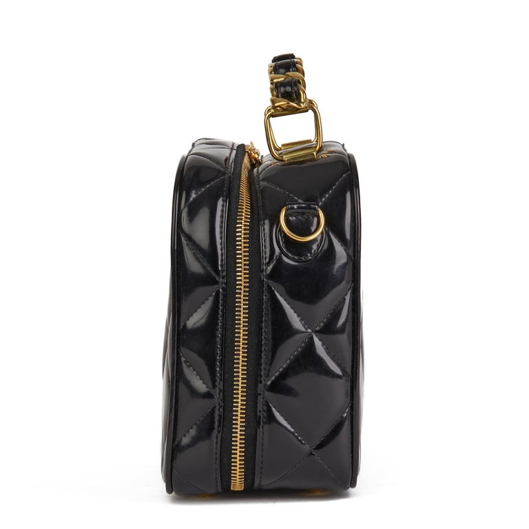 Women's 1996 Chanel Black Quilted Patent Leather Vintage Small Timeless Lunch Box Bag  For Sale