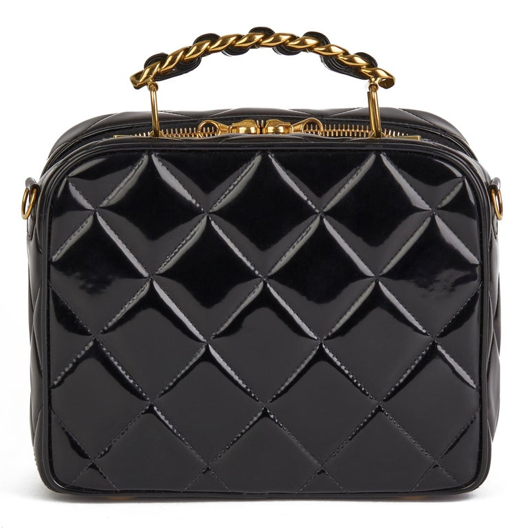 1996 Chanel Black Quilted Patent Leather Vintage Small Timeless Lunch Box Bag  For Sale 1
