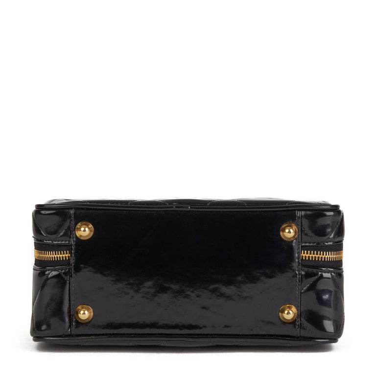 1996 Chanel Black Quilted Patent Leather Vintage Small Timeless Lunch Box Bag  For Sale 2