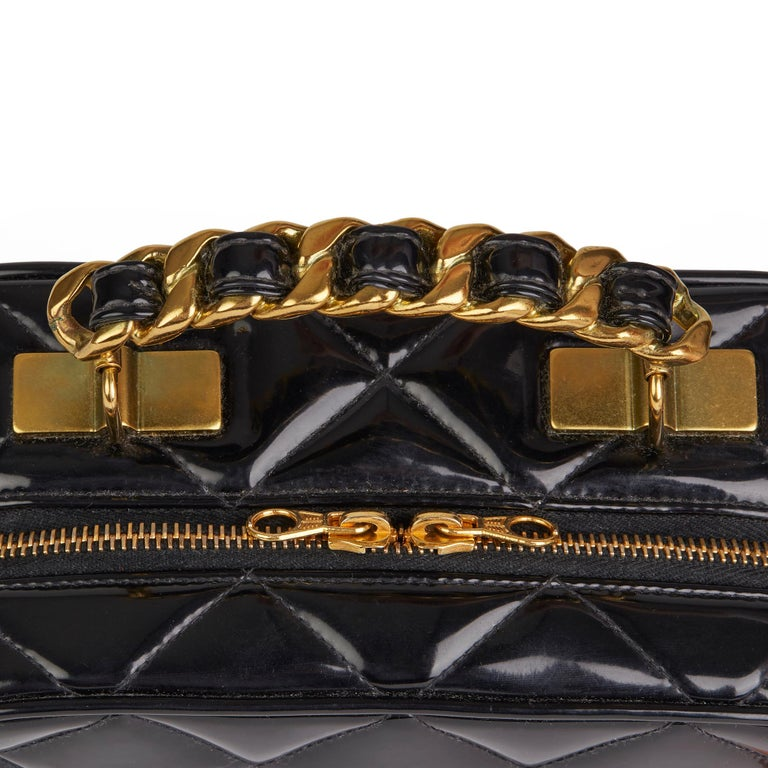 1996 Chanel Black Quilted Patent Leather Vintage Small Timeless Lunch Box Bag  For Sale 3