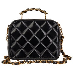 1996 Chanel Black Quilted Patent Leather Vintage Small Timeless Lunch Box Bag