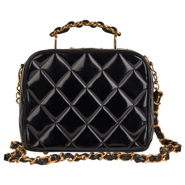 1996 Chanel Black Quilted Patent Leather Vintage Small Timeless Lunch Box Bag  For Sale