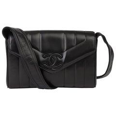 1996 Chanel Black Vertical Quilted Lambskin Vintage Logo Shoulder Flap Bag