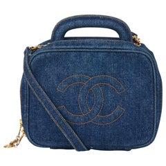 1996 Chanel Blue Denim Vintage Timeless Vanity Bag