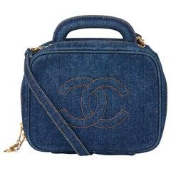 1996 Chanel Blue Denim Vintage Timeless Vanity Bag