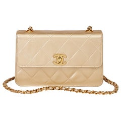1996 Chanel Gold Quilted Metallic Lambskin Vintage Mini Flap Bag